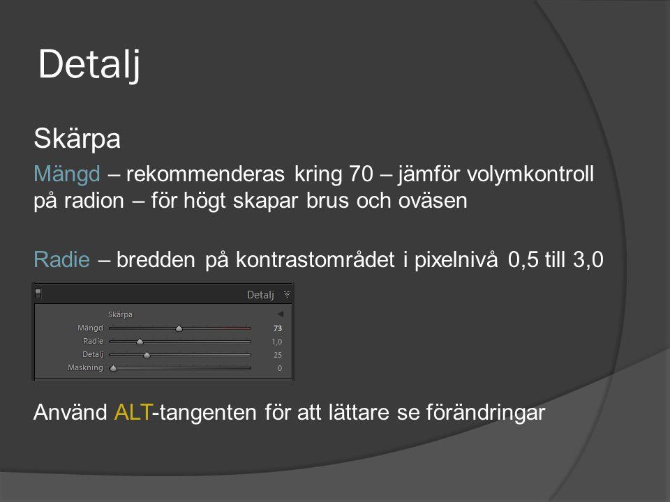 Detalj Skärpa. Mängd – rekommenderas kring 70 – jämför volymkontroll på radion – för högt skapar brus och oväsen.