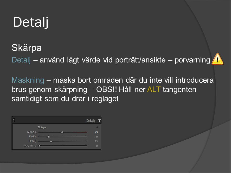 Detalj Skärpa. Detalj – använd lågt värde vid porträtt/ansikte – porvarning.