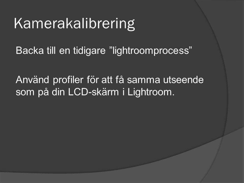 Kamerakalibrering Backa till en tidigare lightroomprocess