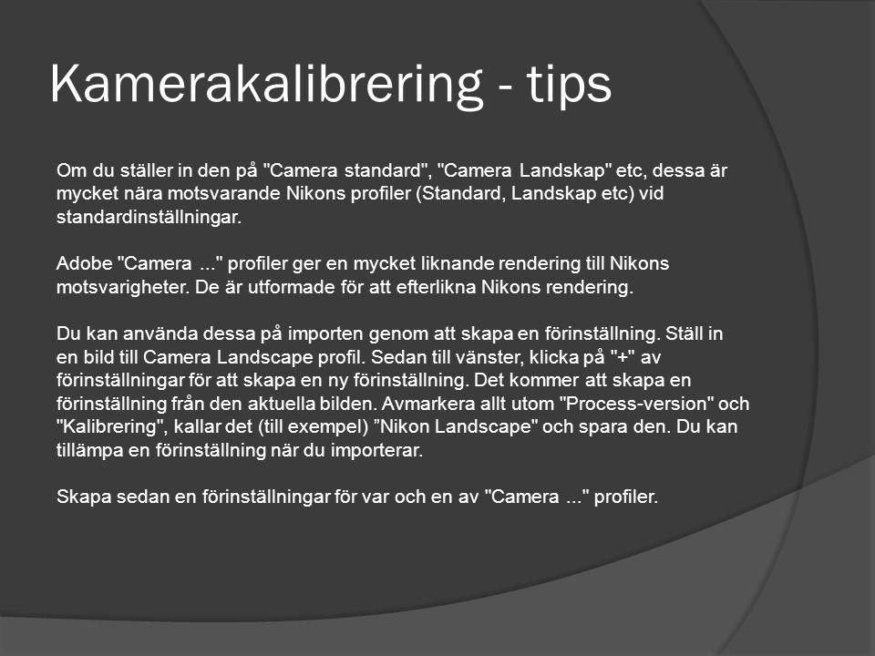 Kamerakalibrering - tips