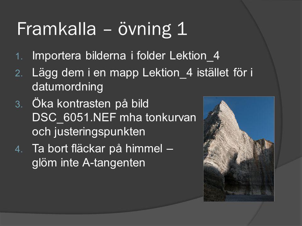 Framkalla – övning 1 Importera bilderna i folder Lektion_4