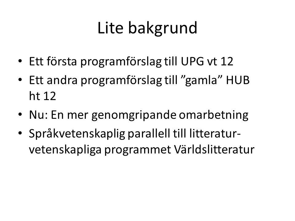Lite bakgrund Ett första programförslag till UPG vt 12