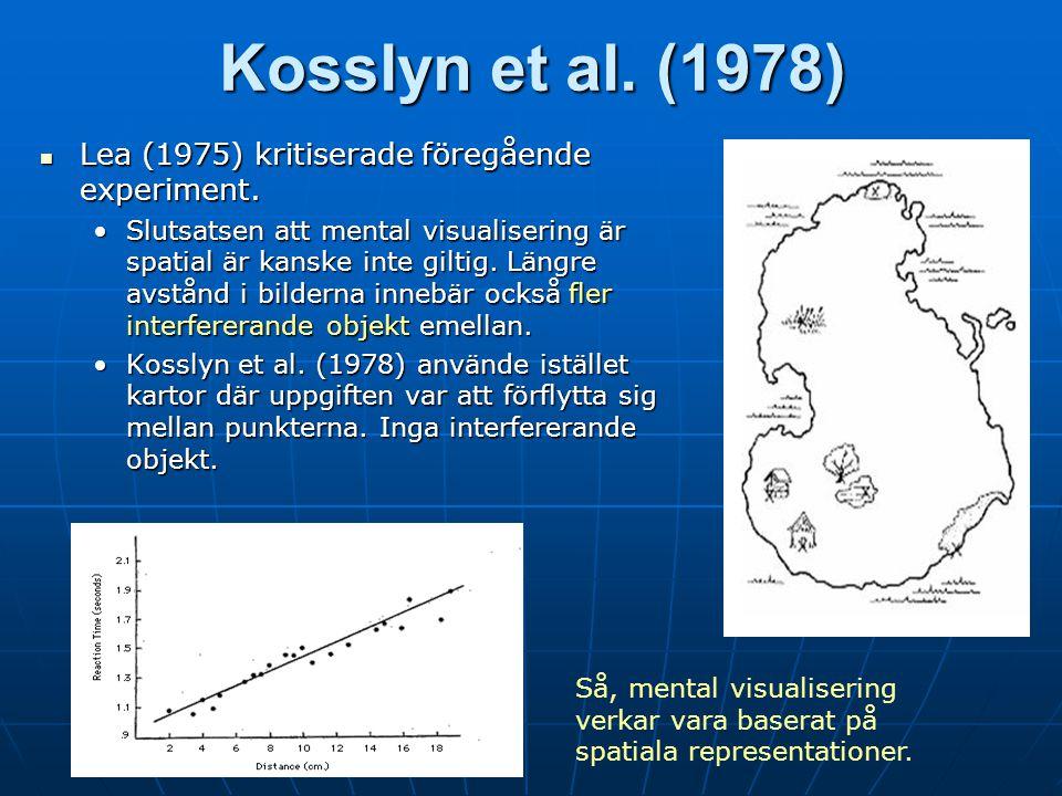 Kosslyn et al. (1978) Lea (1975) kritiserade föregående experiment.