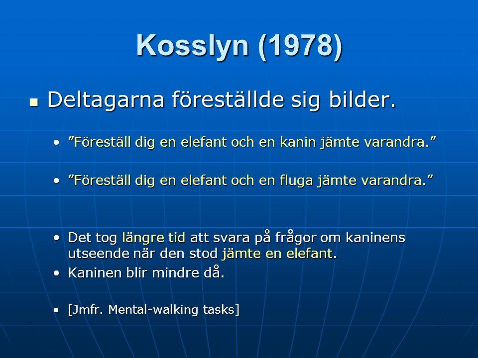 Kosslyn (1978) Deltagarna föreställde sig bilder.