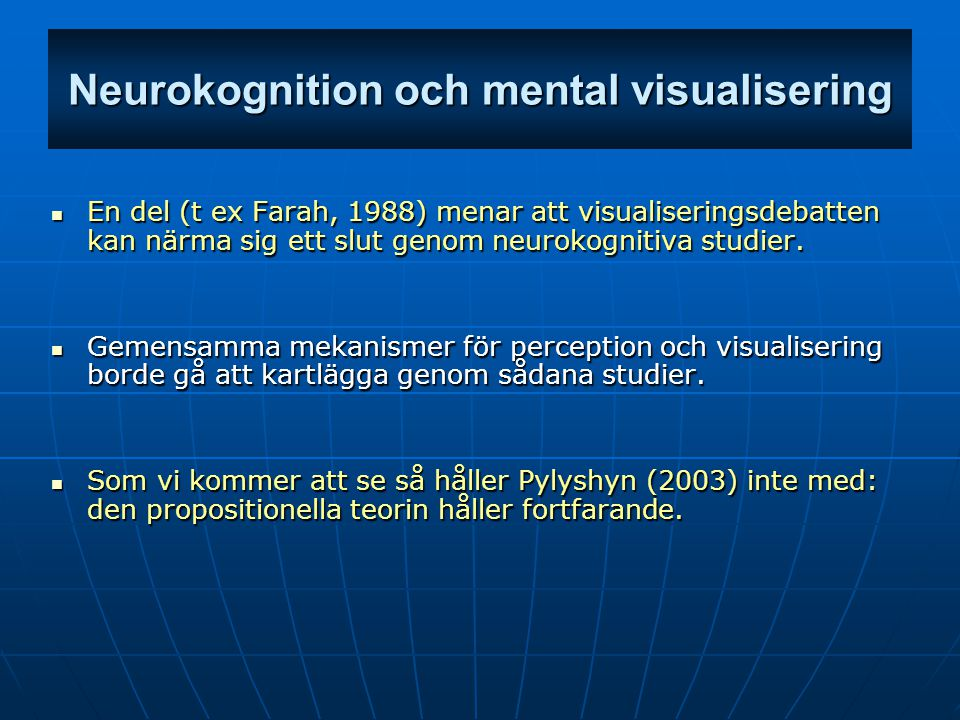 Neurokognition och mental visualisering