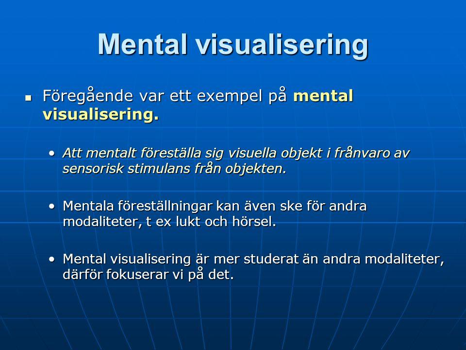 Mental visualisering Föregående var ett exempel på mental visualisering.
