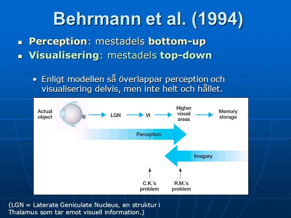 Behrmann et al. (1994) Perception: mestadels bottom-up