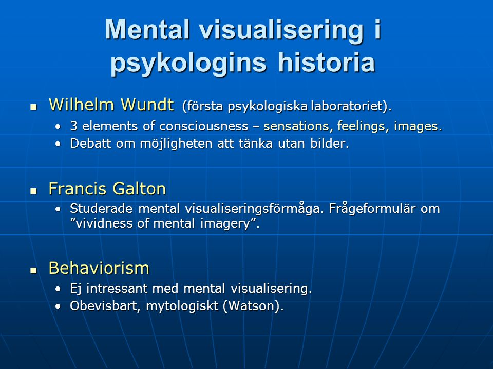 Mental visualisering i psykologins historia