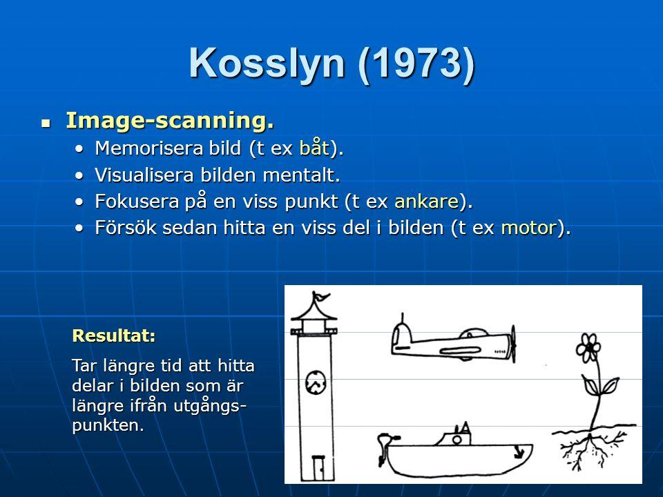 Kosslyn (1973) Image-scanning. Memorisera bild (t ex båt).