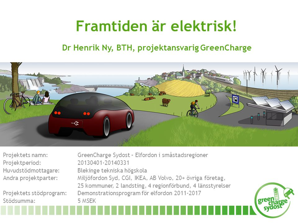 Framtiden är elektrisk! Dr Henrik Ny, BTH, projektansvarig GreenCharge