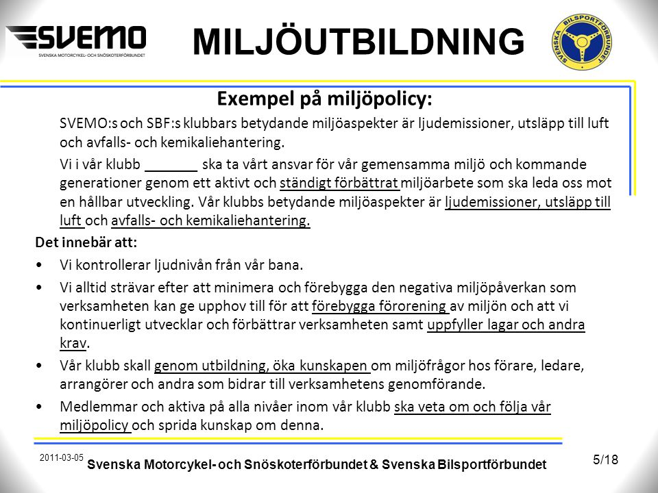Exempel på miljöpolicy: