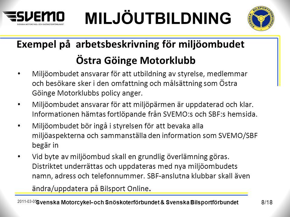 Exempel på arbetsbeskrivning för miljöombudet Östra Göinge Motorklubb