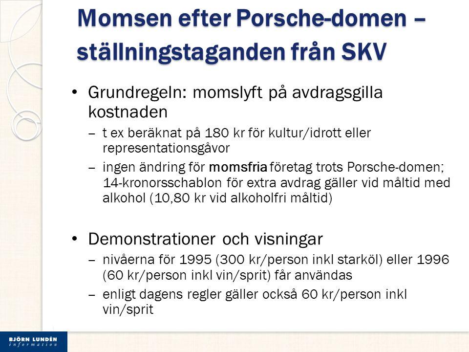 Momsen efter Porsche-domen – ställningstaganden från SKV