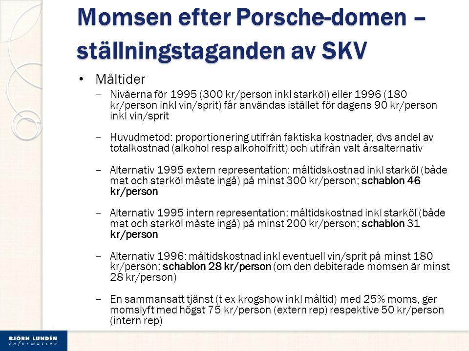 Momsen efter Porsche-domen – ställningstaganden av SKV