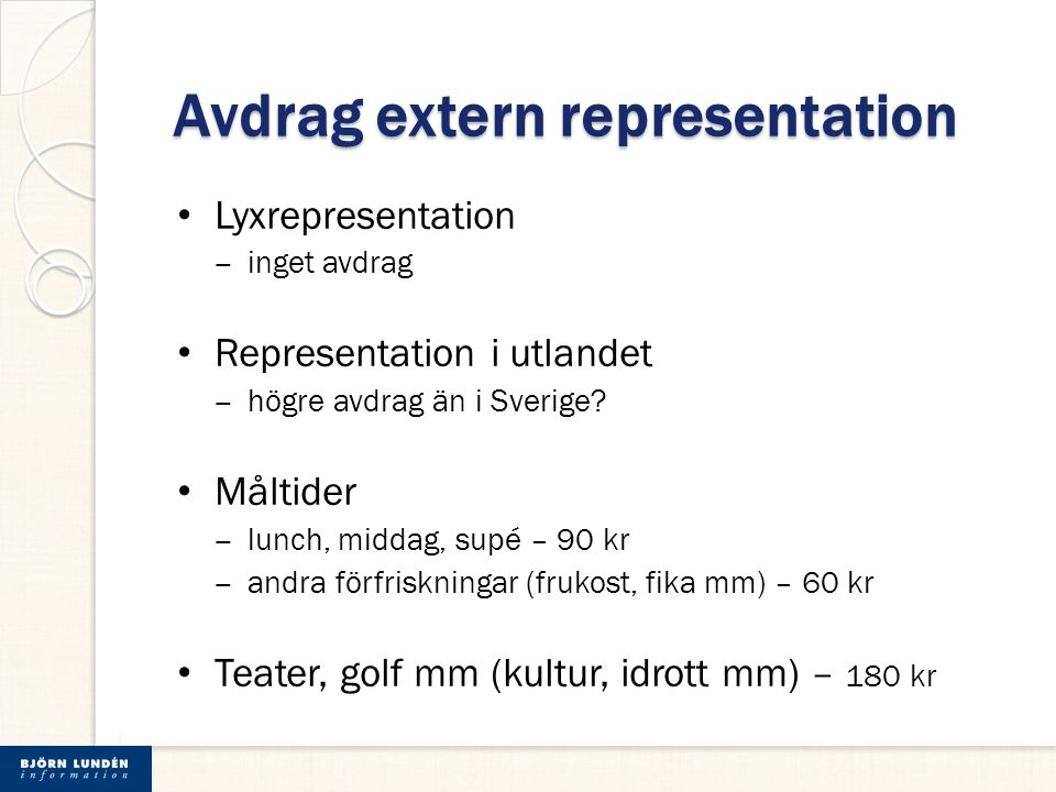Avdrag extern representation
