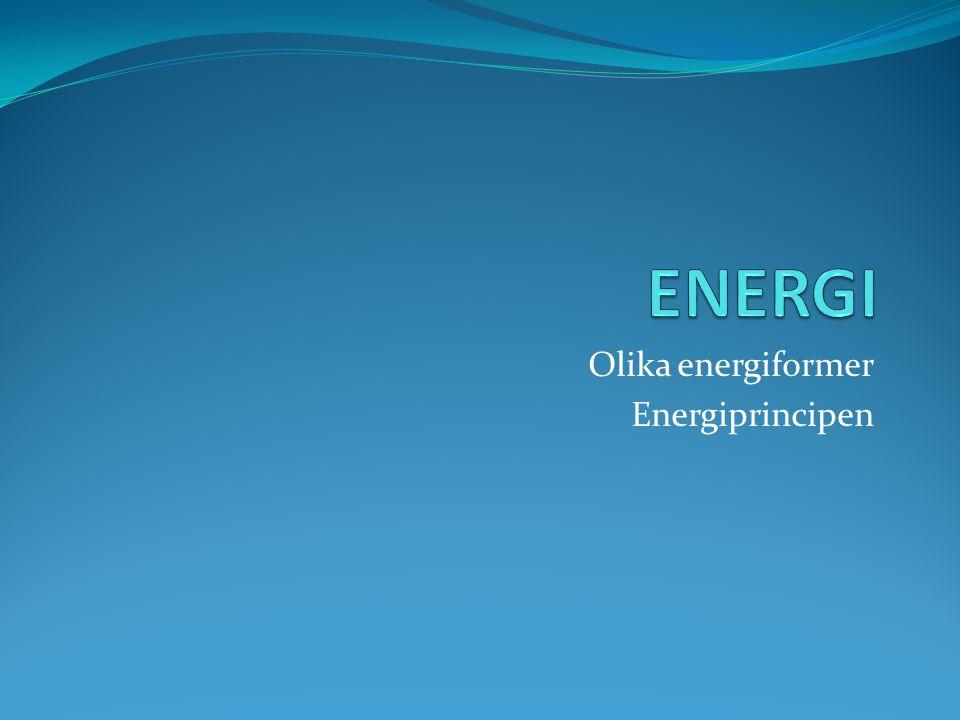 Olika energiformer Energiprincipen