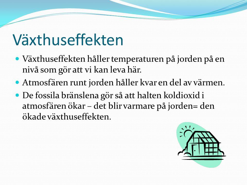 Växthuseffekten Växthuseffekten håller temperaturen på jorden på en nivå som gör att vi kan leva här.