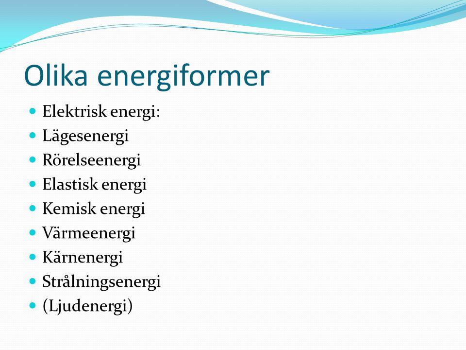 Olika energiformer Elektrisk energi: Lägesenergi Rörelseenergi