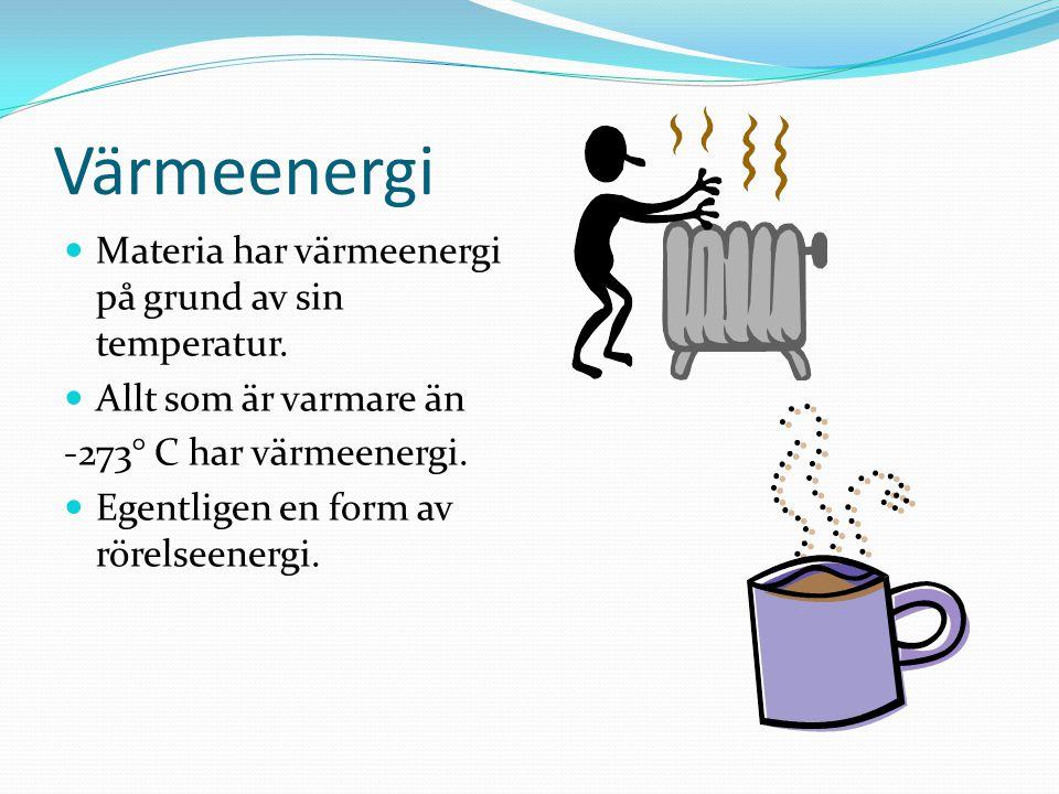Värmeenergi Materia har värmeenergi på grund av sin temperatur.