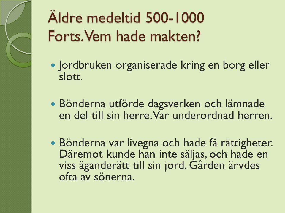 Äldre medeltid 500-1000 Forts. Vem hade makten