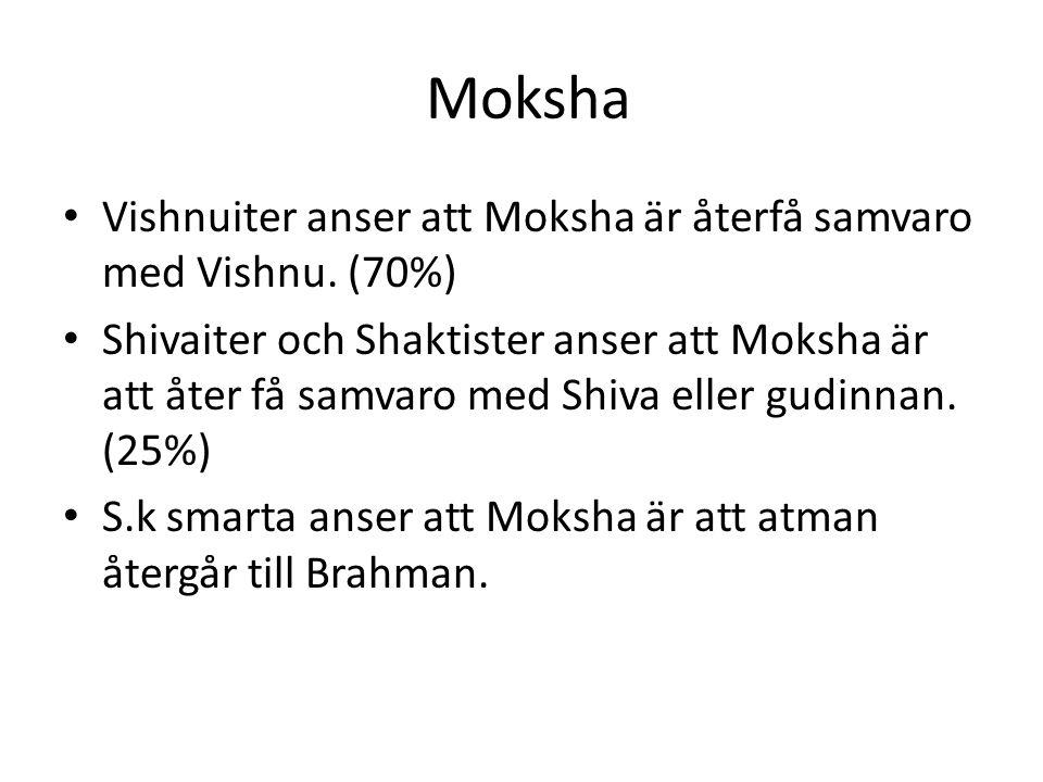 Moksha Vishnuiter anser att Moksha är återfå samvaro med Vishnu. (70%)