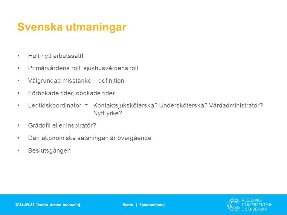 Svenska utmaningar Helt nytt arbetssätt!