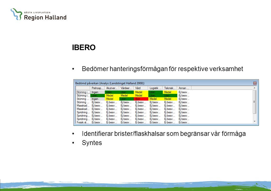 IBERO Bedömer hanteringsförmågan för respektive verksamhet