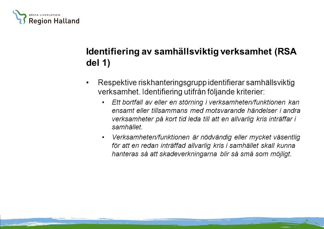 Identifiering av samhällsviktig verksamhet (RSA del 1)