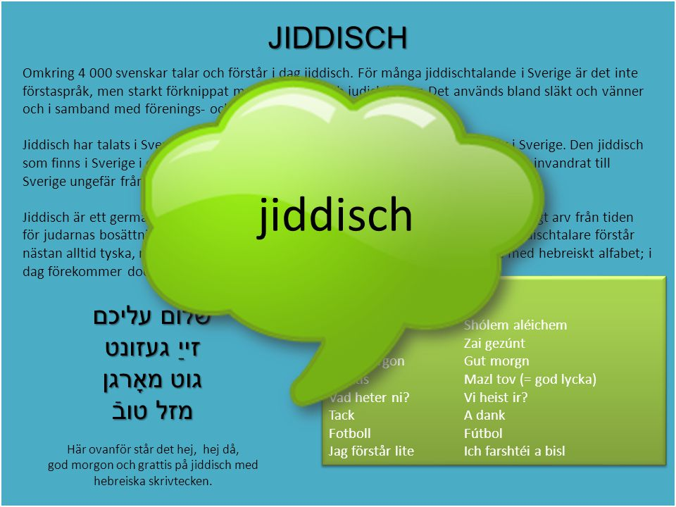 jiddisch JIDDISCH שלום עליכם זייַ געזונט גוט מאָרגן מזל טובֿ