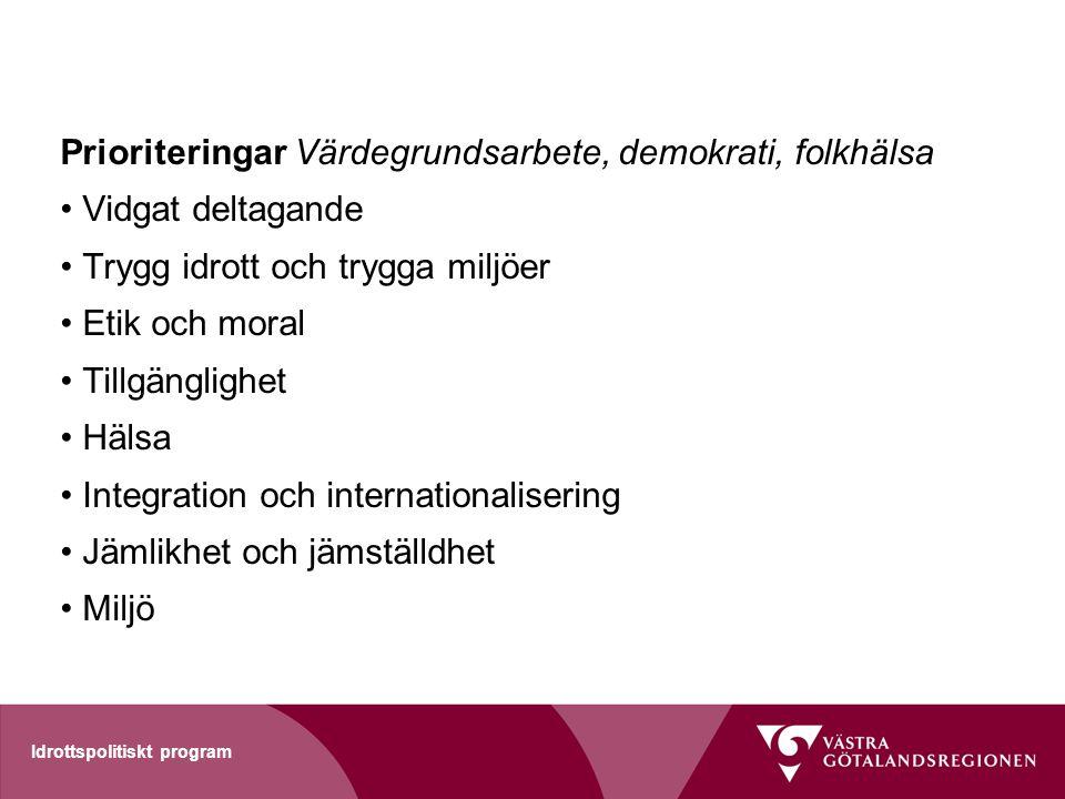 Prioriteringar Värdegrundsarbete, demokrati, folkhälsa