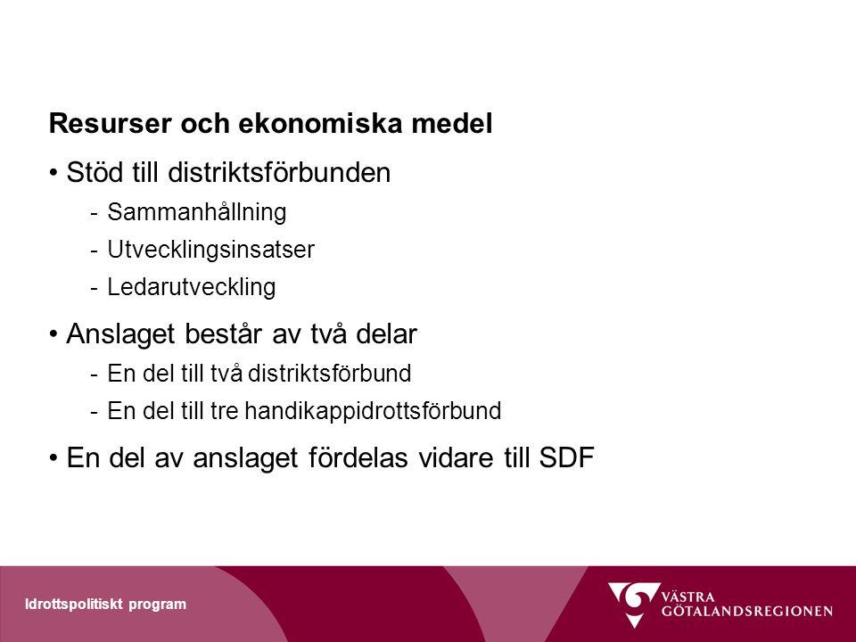 Resurser och ekonomiska medel Stöd till distriktsförbunden