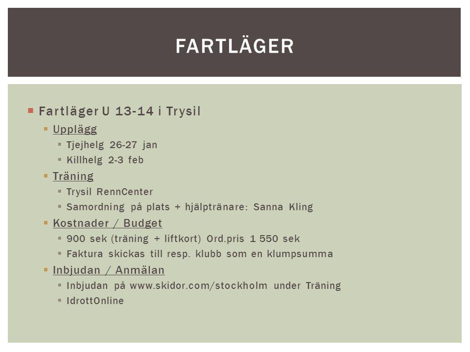 Fartläger Fartläger U 13-14 i Trysil Upplägg Träning