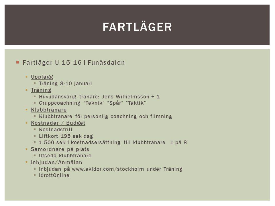 Fartläger Fartläger U 15-16 i Funäsdalen Upplägg Träning Klubbtränare