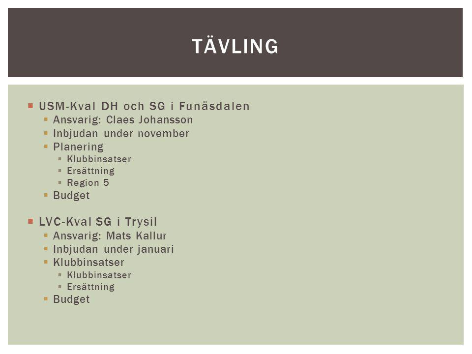 tävling USM-Kval DH och SG i Funäsdalen LVC-Kval SG i Trysil