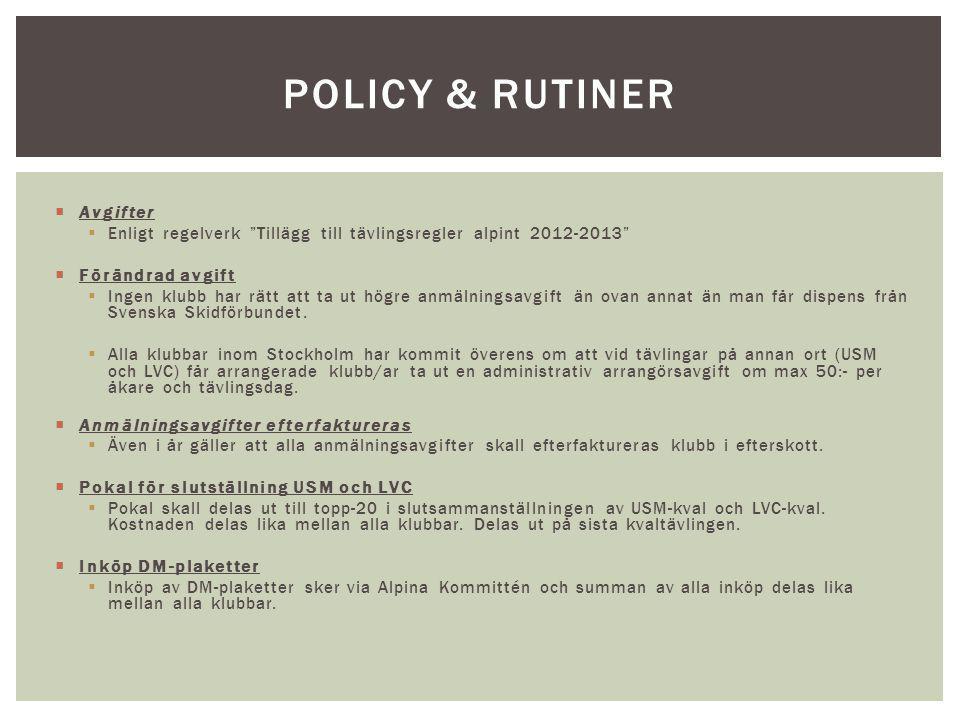 Policy & rutiner Avgifter