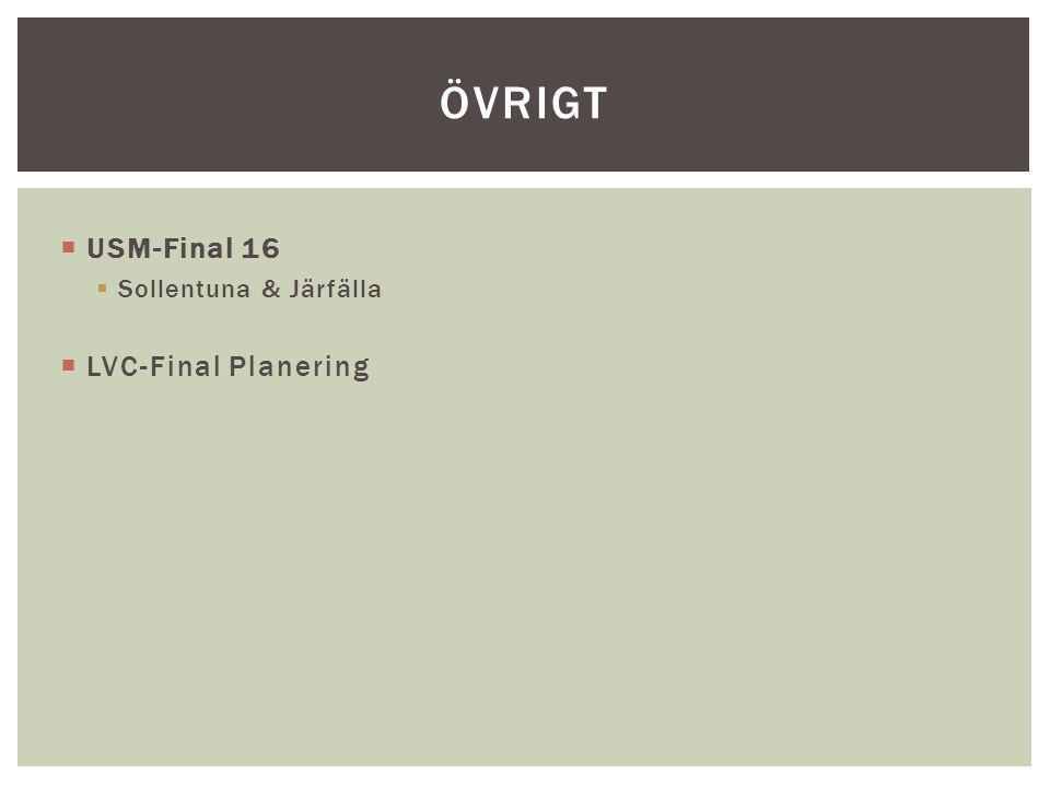 övrigt USM-Final 16 Sollentuna & Järfälla LVC-Final Planering