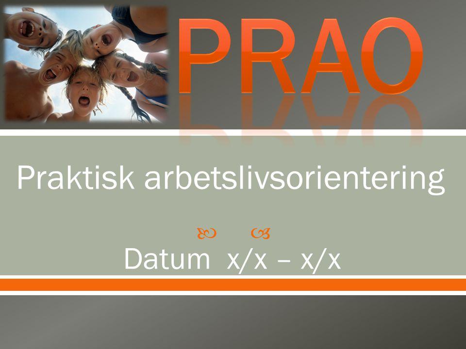 PRAO Praktisk arbetslivsorientering Datum x/x – x/x