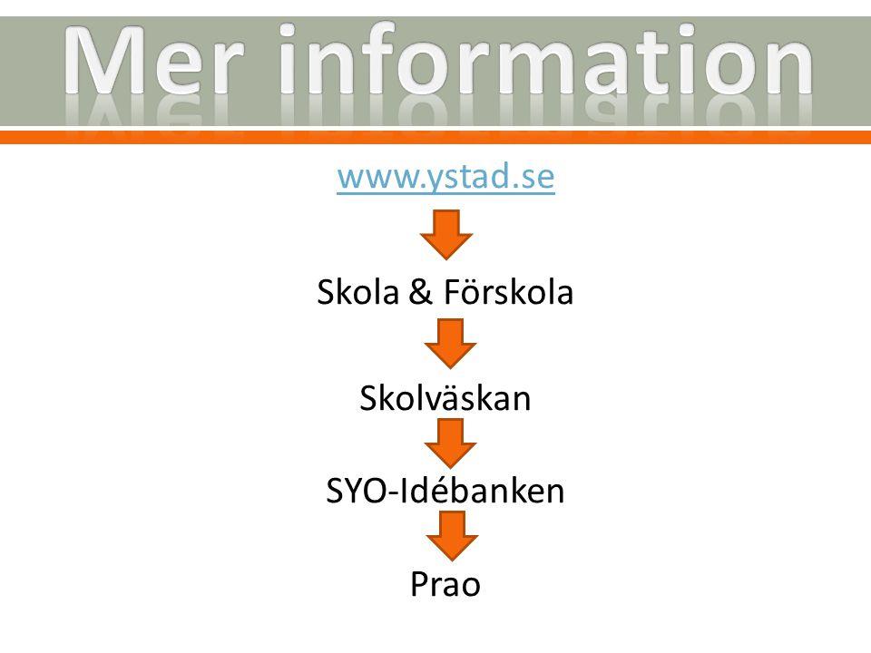 Mer information www.ystad.se Skola & Förskola Skolväskan SYO-Idébanken