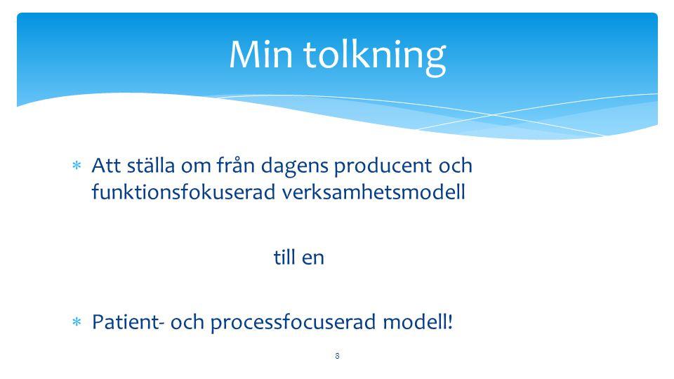 Min tolkning Att ställa om från dagens producent och funktionsfokuserad verksamhetsmodell. till en.