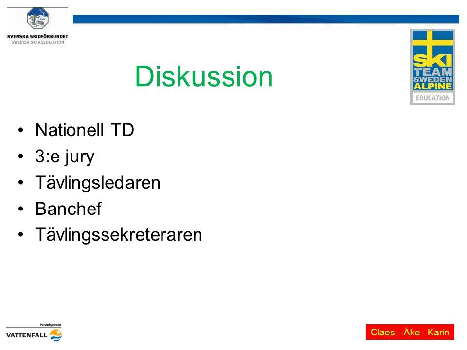 Diskussion Nationell TD 3:e jury Tävlingsledaren Banchef