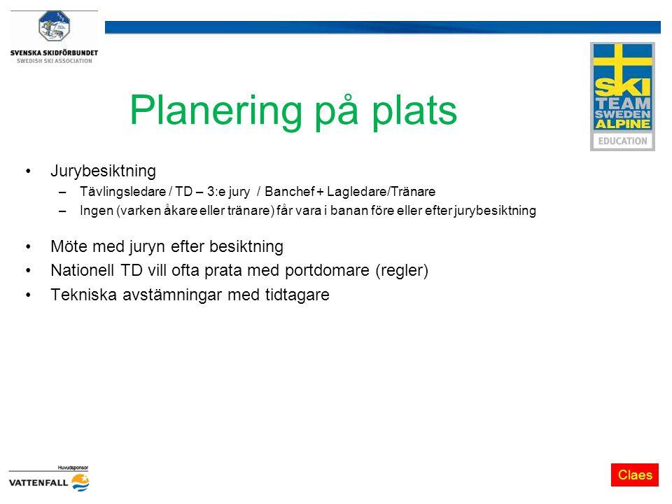 Planering på plats Jurybesiktning Möte med juryn efter besiktning