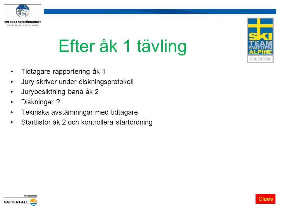 Efter åk 1 tävling Tidtagare rapportering åk 1