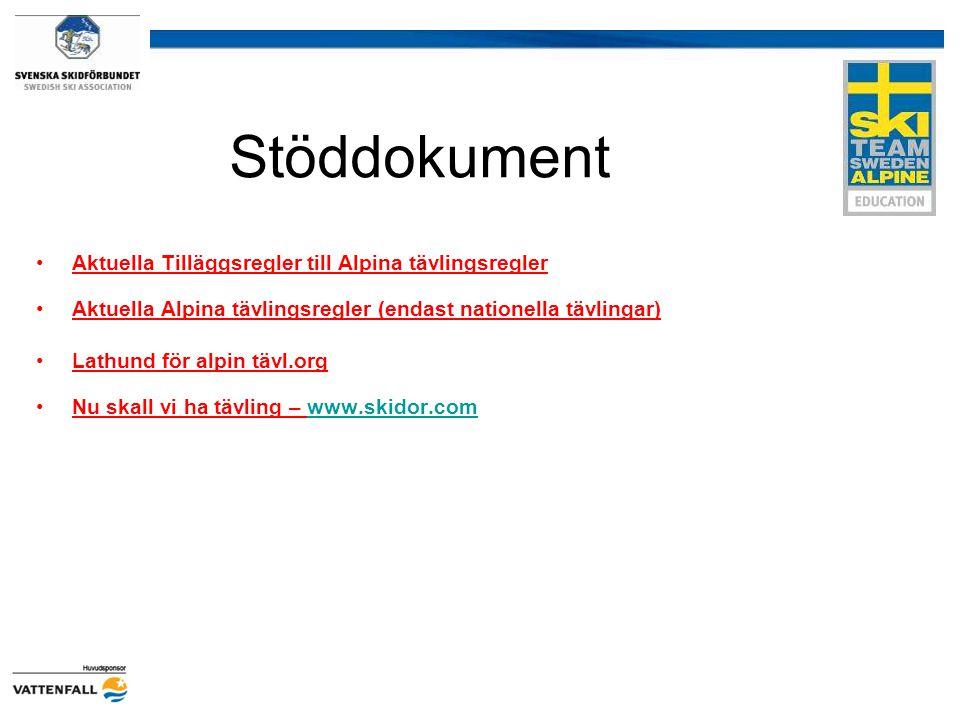 Stöddokument Aktuella Tilläggsregler till Alpina tävlingsregler