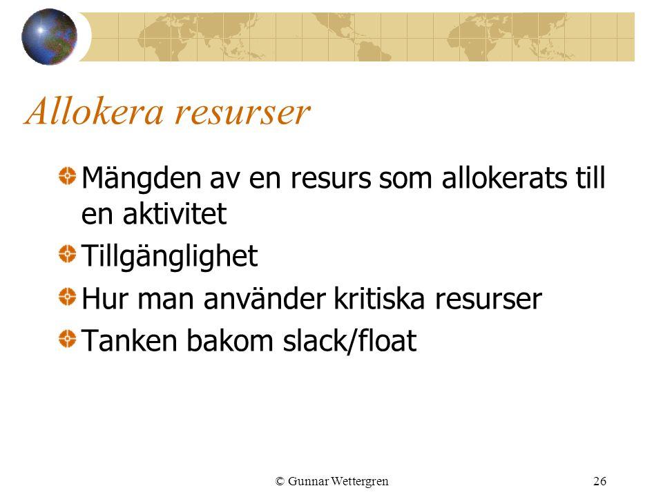 Allokera resurser Mängden av en resurs som allokerats till en aktivitet. Tillgänglighet. Hur man använder kritiska resurser.