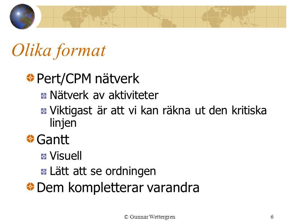 Olika format Pert/CPM nätverk Gantt Dem kompletterar varandra