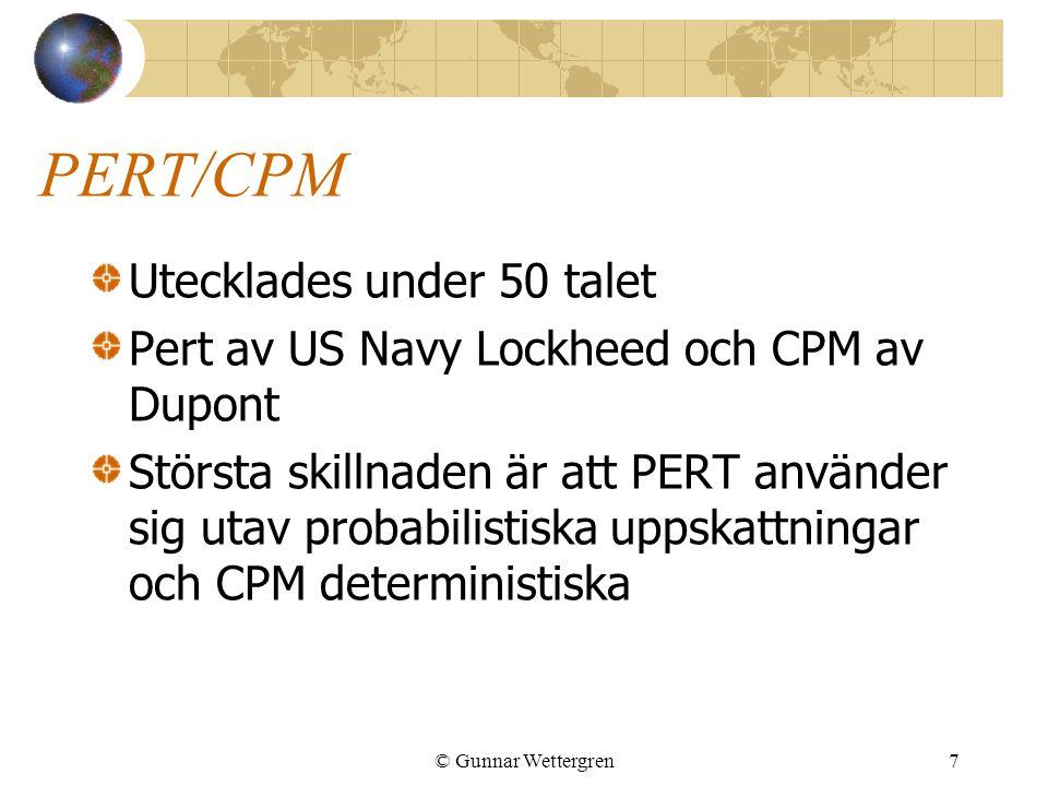 PERT/CPM Utecklades under 50 talet