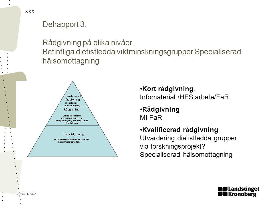 Delrapport 3. Rådgivning på olika nivåer