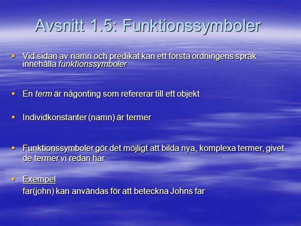 Avsnitt 1.5: Funktionssymboler