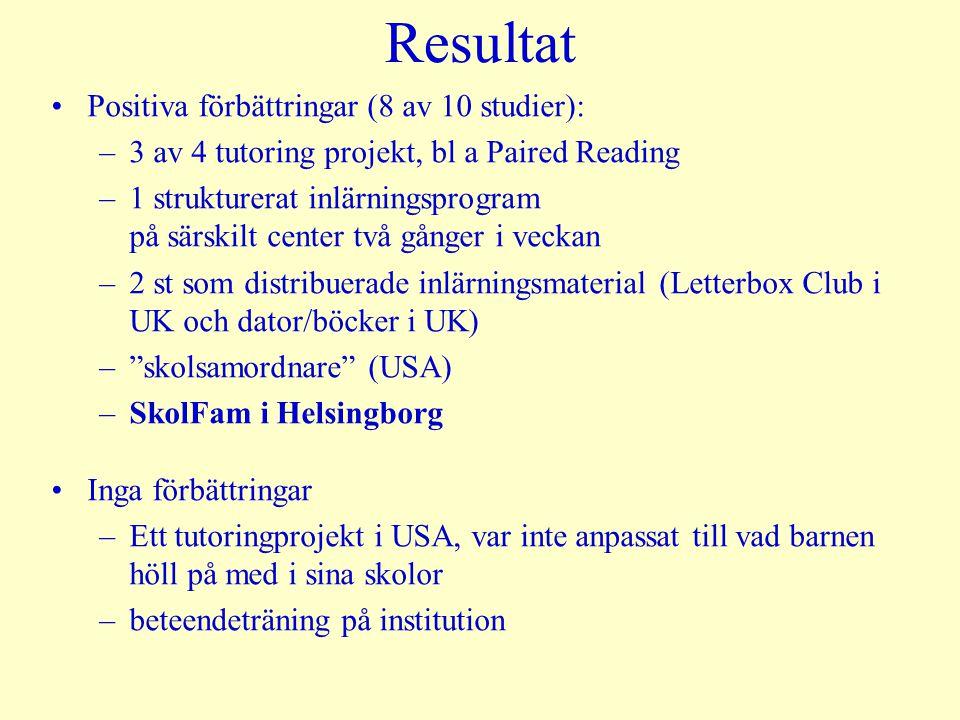 Resultat Positiva förbättringar (8 av 10 studier):