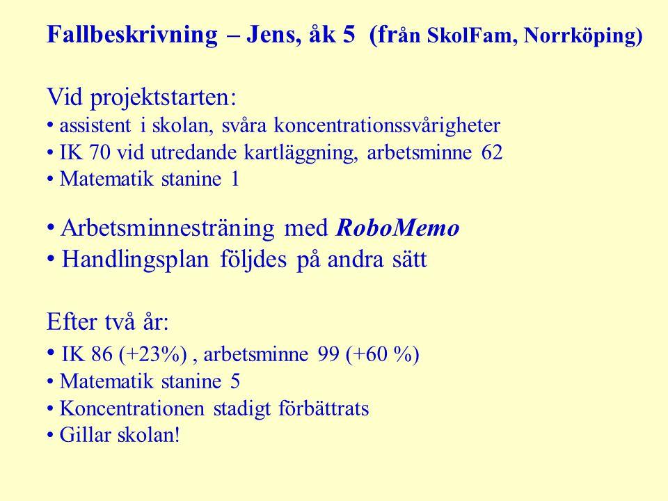 Fallbeskrivning – Jens, åk 5 (från SkolFam, Norrköping)